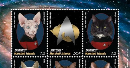 Marshall2BIslands2BStar2BTrek2BThe2BNext2BGeneration2BCats2Bpostage2Bstamps 500x262 New TNG postage stamps, including TNG cats!