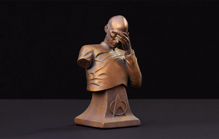 picard facepalm bronze bust 1 750x477 Tell Them How You Really Feel with This Picard Facepalm Bust